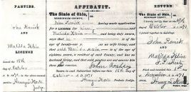 The marriage license of John and Matilda Klein Roahrig