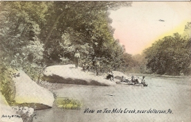 View on Ten Mile Creek, near Jefferson, Pa., sent by Helen Minor, 1910