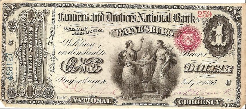 Waynesburg, Pennsylvania.  The Farmers and Drovers National Bank of Waynesburg.  No. 259/453127. Plate C.