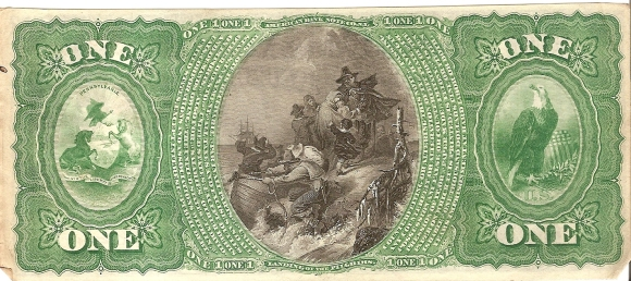 This National Bank Note, #259/453127, was secured by bonds of the United States deposited with the U.S. Treasury, Washington as attested to by J.B. Colby, Register of the Treasury, and Francis E. Spinner, Treasurer of the United States. The Farmers and Drovers Bank of Waynesburg, State of Pennsylvania would pay on demand to the Bearer ONE DOLLAR. The note was printed by federal contractor the American Bank Note Company of New York as part of the series issued on July 1, 1865, on plate C. The note sheets were then sent to the bank where each note was signed by D. Crawford, Cashier, and Charles A. Black, President, and stamped with the red Treasury Seal before being cut and put into circulation.