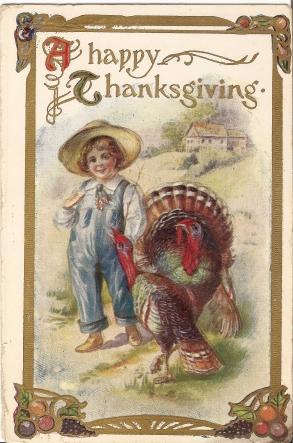 Thanksgiving Child with Turkeys
