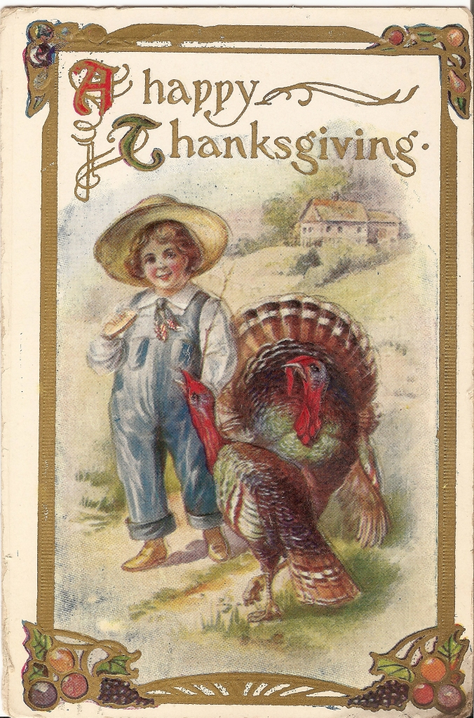 Thanksgiving Child with Turkeys