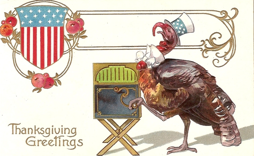 Thanksgiving Turkey Plays Victrola
