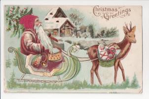 St. Nicholas in a reindeer drawn sleigh