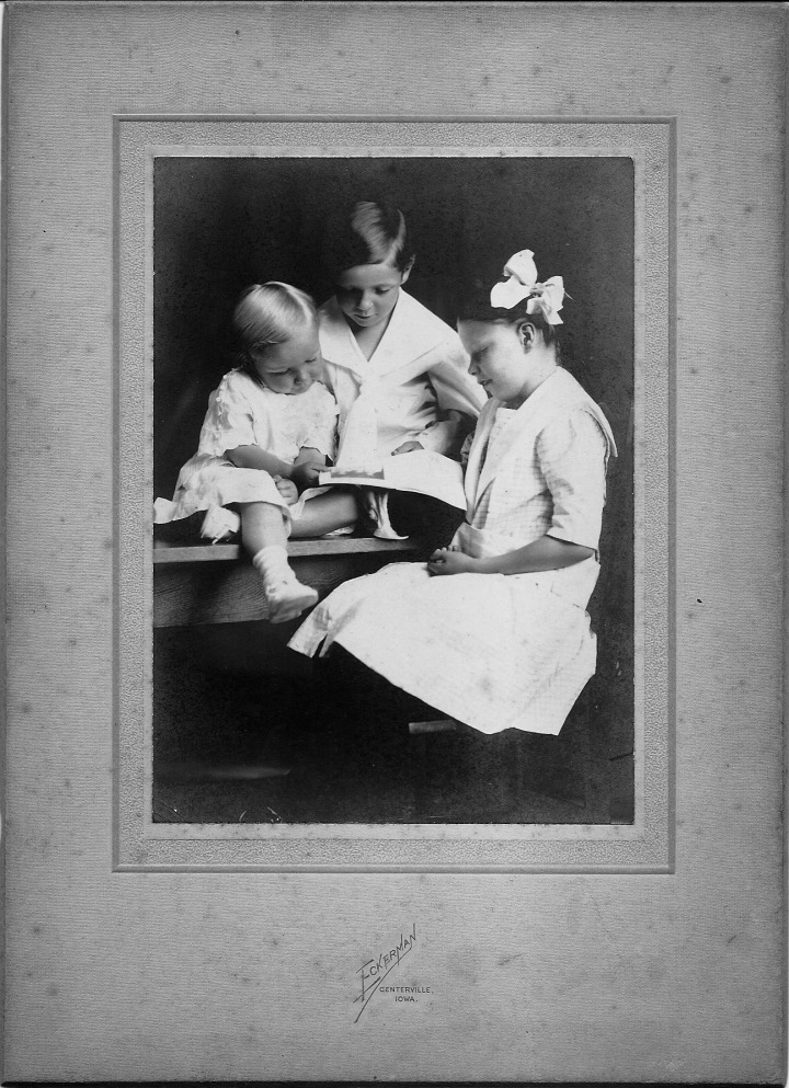 "Vannoy Family Portrait, circa 1914: Paul, Ivan, Janet. Photographer A.C. ""Al"" Eckerman in Centerville, Iowa"