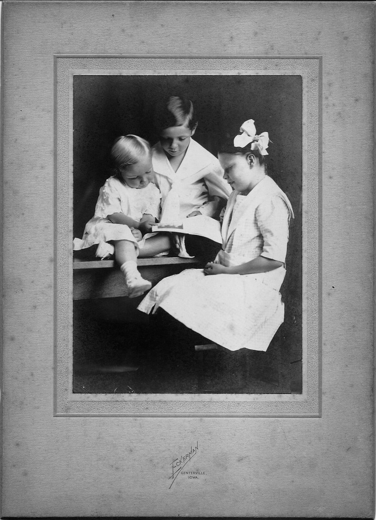 "Vannoy Family Portrait, circa 1914: Paul, Ivan, Janet. Photographer A.C. ""Al"" Eckerman in Centerville, Iowa"