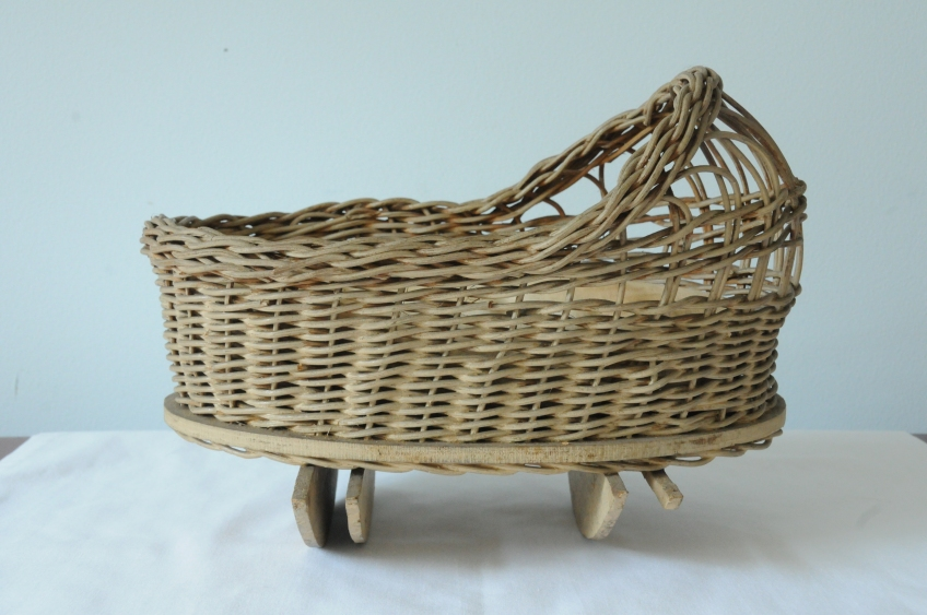 handmade wicker doll cradle, circa 1930s, Marilyn Minor Strickland Collection