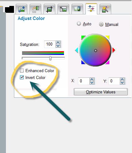 Adjust color for a negative, scanned.