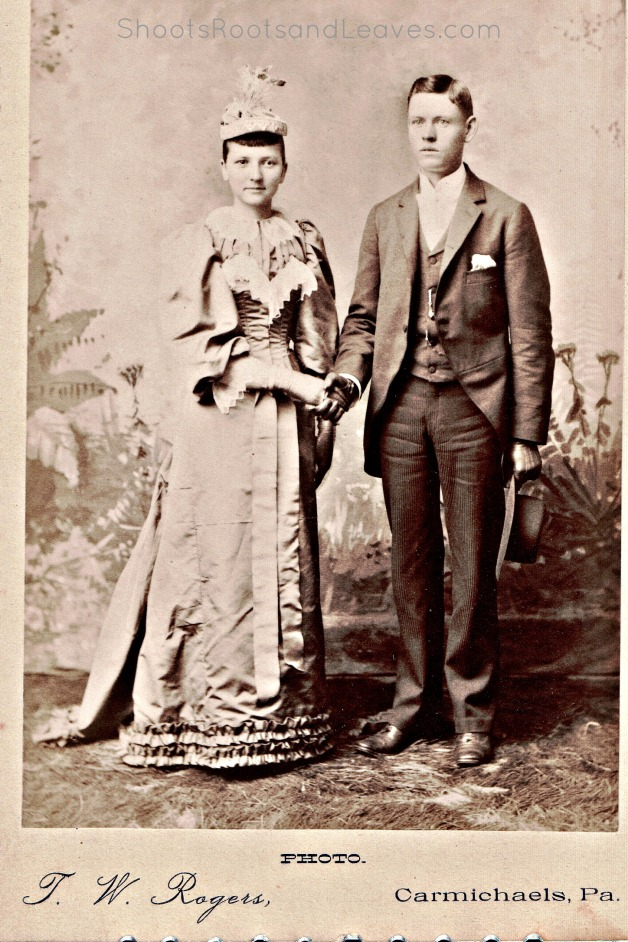 "May Laura Stevenson and Robert Minor said ""I do"" on September 8, 1892, in Carmichaels, Pennsylvania.  The service was officiated by Rev. T. J. Briston, a Presbyterian minister."