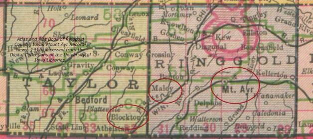 Map. Taylor and Ringgold Counties, Iowa. Keenan, Minor, Stephenson