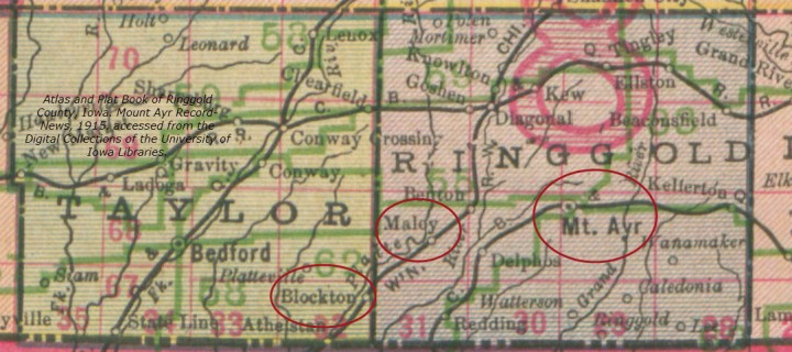 Map. Taylor and Ringgold Counties, Iowa. Keenan, Minor, Stephenson