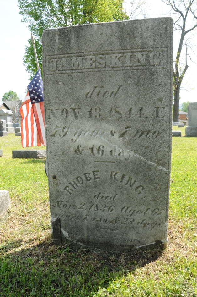 Krusen Cemetery, Westfield, Pennsylvania. The gravestone of Ira Sayles' grandparents, James King IV (1765-1844) and Rhobe/Merrobe Howland King (1769-1836)