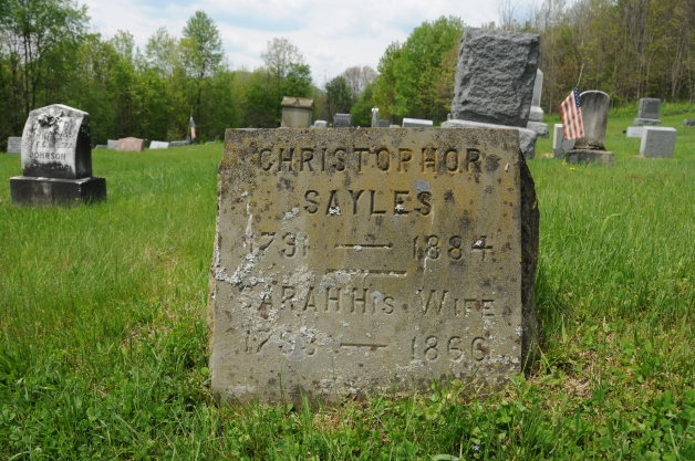 Mount Pleasant Cemetery, Westfield, Pennsylvania.  The grave of Ira's parents, Christopher Sayles (1791-1884) and Sarah King Sayles (1793-1866)