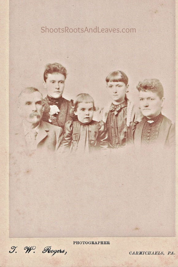 left to right: Owen McClure (1843-1925) , Owen's daughter from first marriage, Anna McClure (1872-xx), daughter of Sarah and Owen, Florence McClure; Sarah's daughter by first marriage, Beatrice Herrington; Sarah Minor Herrington McClure.