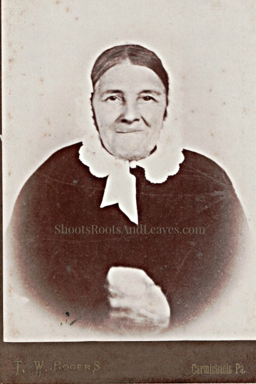 Smiling Woman Wearing Day Cap. Cabinet card (1885-1895) of original daguerreotype (1845-1855). Minor Family Album, p. 17; author's collection. 2014.
