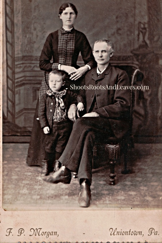 Unidentified Family, cabinet card, F. P. Morgan, photographer, Uniontown, Pennsylvania, 1883-1888.  The Minor Family Album, p. 18, Author's Collection, 2014.