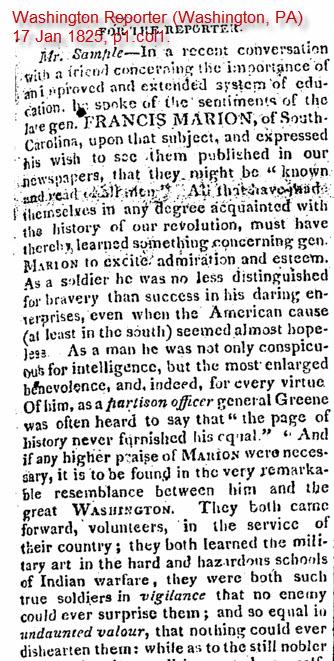 Photo.Newspapers.FrancisMarion.Namesake.1825