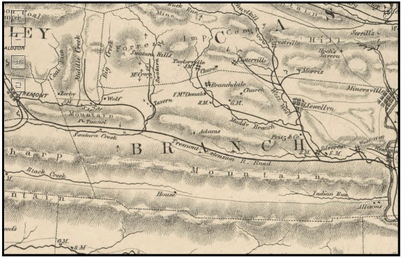 Map of Schuylkill County, Minersville to Tremont, 1854