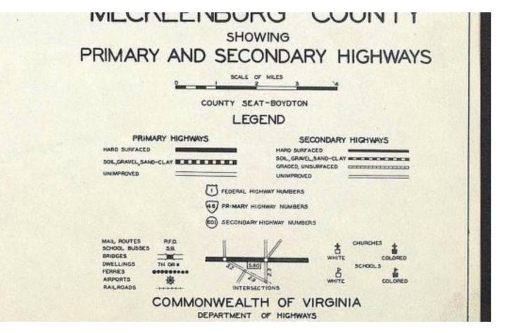 Mecklenburg County, VA 1932 Map Key