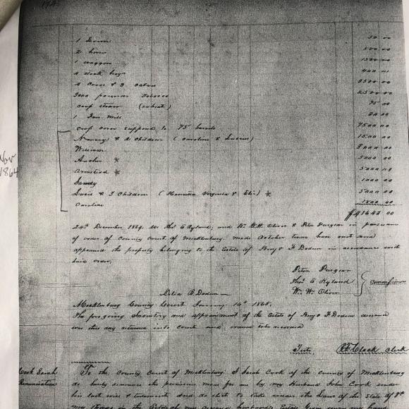 Inventory of Benjamin F. Dodson, 1864