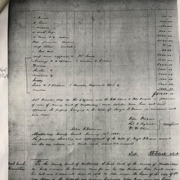 Inventory of Benjamin F. Dodson, 1864